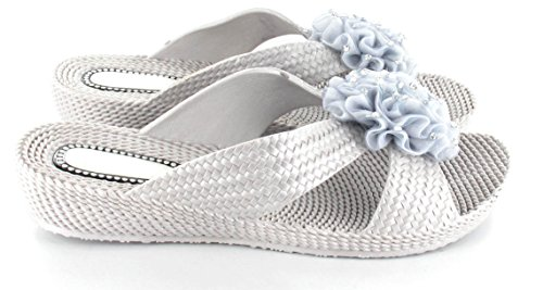 Womens Ladies flor Mules soporte de verano sandalias Ella Nicky plata