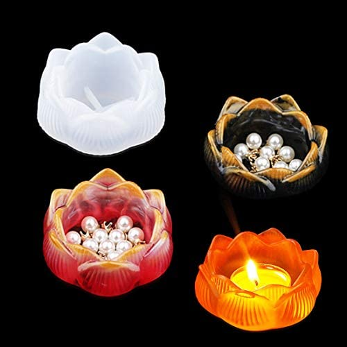 Lotus Ashtray Epoxy Mold DIY Resin Clay Casting Aromatherapy Candle Holders Flower Storage Silicone Mold,Inner Dia.2 inch Pack of 2