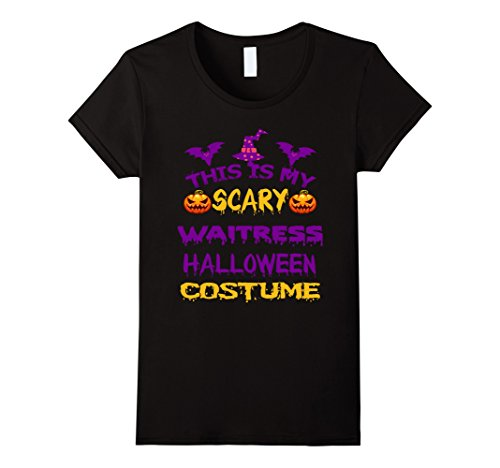 Womens Halloween This Is My Scary Waitress Costume Gift Shirt XL (Scary Waitress Halloween Costume)
