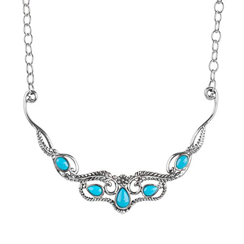 American West Sterling Silver Sleeping Beauty Turquoise Statement Bib Necklace 20 Inch