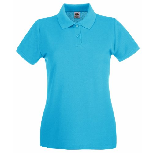 Fruit Of The Loom Lady-Fit Premium Polo Shirt XL,Azure Blue