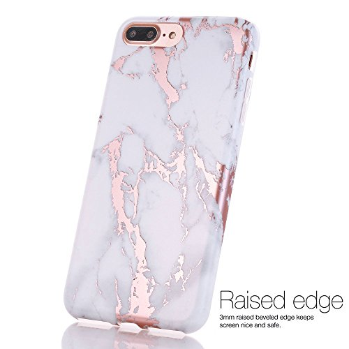 iPhone 7 Plus Case, Shiny Rose Gold White Marble Design, BAISRKE Clear Bumper Matte TPU Soft Rubber Silicone Cover Phone Case for Apple iPhone 7 Plus & iPhone 8 Plus [5.5 inch] by BAISRKE (Image #4)