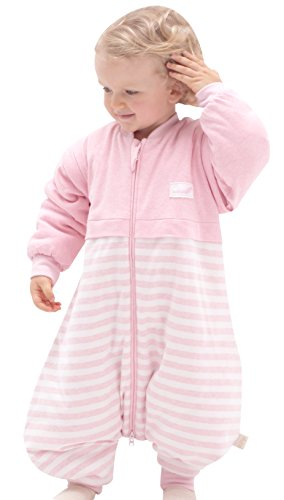 OuYun Baby Early Walker Sleeping Bag with Feet Detachable Sleeve Wearable Blanket Spring&Autumn,Pink, Medium