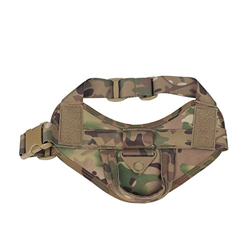 Yisibo Tactical K9 Dog Training Vest Nylon Adjustable Service Police Patrol Molle Harness W/ Dog Vest Packs Velcro Vest for Largr Small Dog Pet Camouflage Pattern S