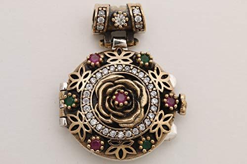 Secret! Turkish Handmade Jewelry Round Ruby Emerald Topaz 925 Sterling Silver Locket Pendant