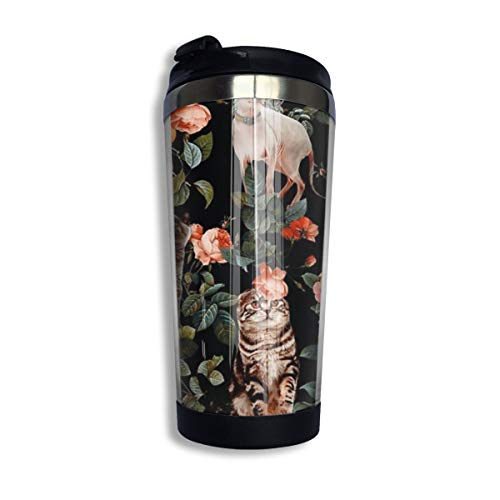 Kuyanasfk Floral and Cats Pattern Coffee Travel Mug Tumbler Vacuum Insulated Stainless Steel Thermos Cup 13.5oz for Men & Women Home Office Camping from Kuyanasfk