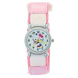 Timermall Cute Pink Hello Kitty 3D Cartoon Children Kids Girls Nylon Velcro Strap Quartz Wrist Watch