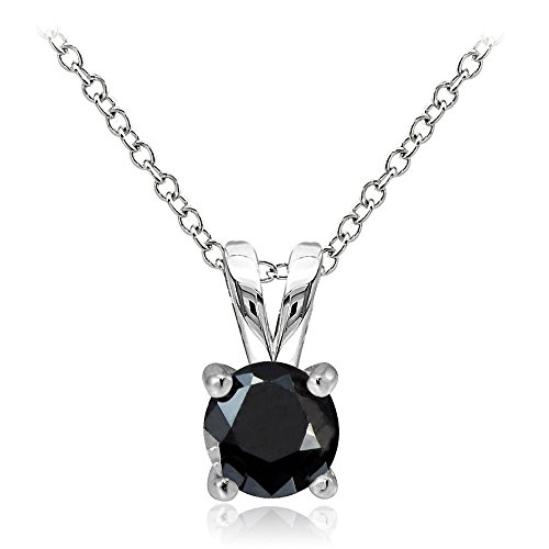 Hoops & Loops Sterling Silver Black Cubic Zirconia Round Solitaire Necklace