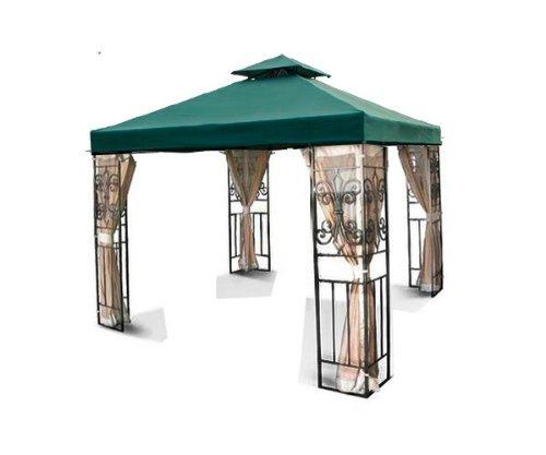 New MTN Gearsmith 10'x10' 2-Tiered Replacement Garden Gazebo Canopy Top Sun Shade - Beige Ivory Green Burgundy Brown (Green)