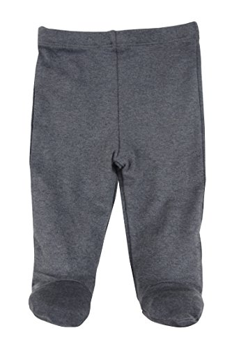 Infants Footed Pant - Dordor & Gorgor Organic Baby Footed Pajamas Pants, Dye Free, 100% Cotton, 0-3 Months, Gray