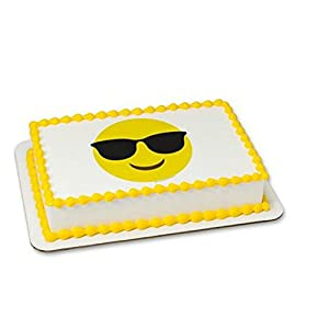 Emoji Emoticon Sunglasses Cake Edible 8' Round Sheet Image Personalized Topper Birthday Party Favor