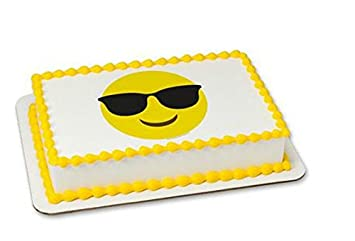 Emoji Emoticon Sunglasses Cake Edible 8 Round Sheet Image