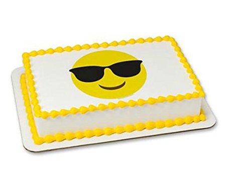 Emoji Emoticon Sunglasses Cake Edible 8' Round Sheet Image Personalized Topper Birthday Party - Emoji Sunglasses Cake