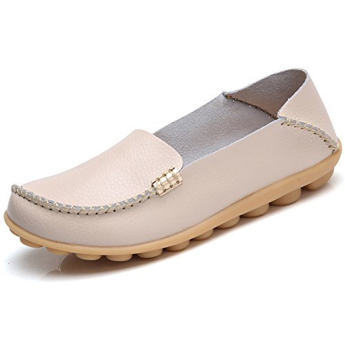 Women's Leather Loafers Shoes Wild Driving Casual Flats Beige 6