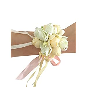 Girl Bridesmaid Wedding Wrist Corsage Party Prom Hand Flower Decor (Ivory) 29