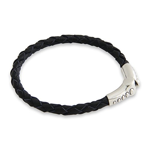 "NOVICA .925 Sterling Silver Leather Bracelet, 7.5"", 'Pulse'"