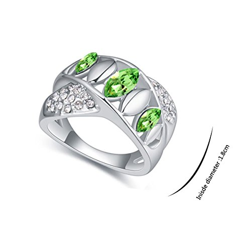 JingChow Women Accessories Jewelry Decorations Swarovski Element Rings Plated with Austria Crystal (Olive)