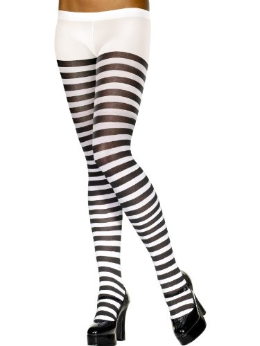 Smiffy's Black And White Striped Tights Costume, Black/White, One Size