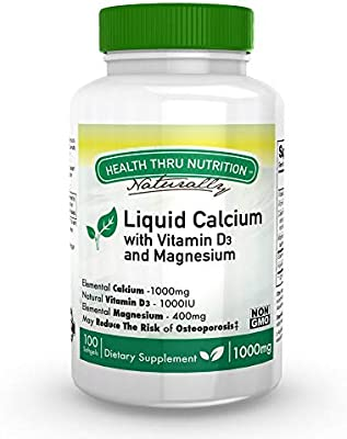Liquid Calcium and Magnesium with 1000 IU D3, Vitamin K, Non-GMO, Soy-Free (100 Softgels)