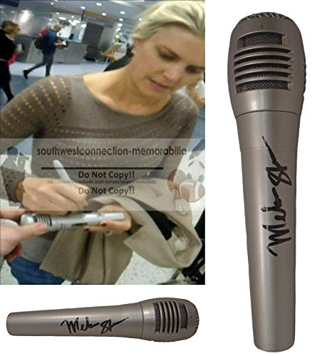 Beijing Summer Olympics - ESPN Melissa Stark Autographed Hand Signed Microphone with Exact Proof Photo of Melissa Signing the Mic, NFL Network, Monday Night Football, 2008 Beijing Summer Olympics, The Today Show, COA