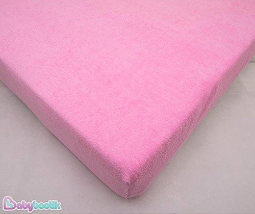 Waterproof Terry Towelling Fitted Sheet Mattress Protector, To Fit Cot Mattress 120x60cm - PINK Libra