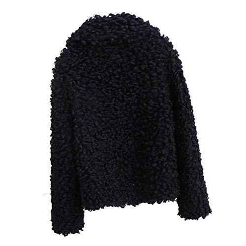 3xl In Sciolto Lunghe Con Risvolto Maniche Sintetica Donna Pelliccia Size Da Inverno Lungo Cappotto color A Black Goyfeelip nxXfTqI