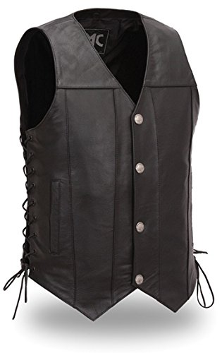 First Manufacturing Men's Buffalo Nickel Vest with Dual Side Internal Concealed Gun Pockets/Adjustable Side Laces (Black, - Vest Nickel Buffalo