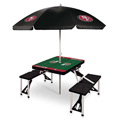 NFL San Francisco 49ers Picnic Table Sport with Umbrella Digital Print, One Size, Black by PICNIC TIME