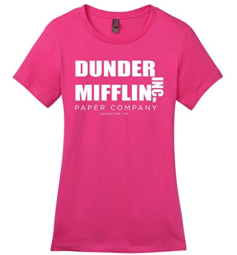 Comical Shirt Ladies Dunder Mifflin Paper Company Funny TV Show Shirt Dark Fuchsia M Ladies Show Shirt