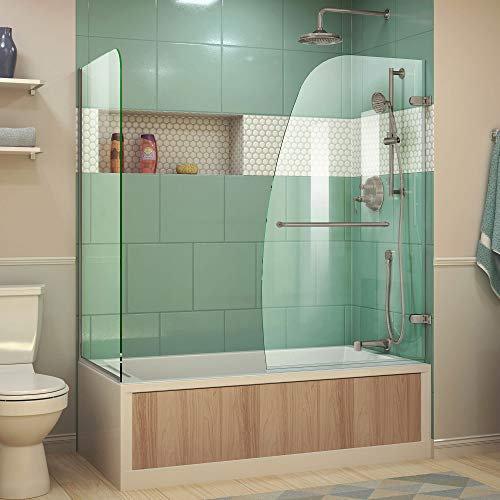 DreamLine Aqua Uno 56-60 in. W x 30 in. D x 58 in. H Frameless Hinged Tub Door with Return Panel in Brushed Nickel, SHDR-3534586-RT-04