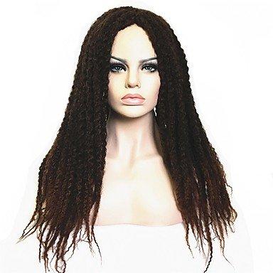 Peluca sintética para mujer, larga, rizada, color marrón oscuro/oscuro Auburn negro