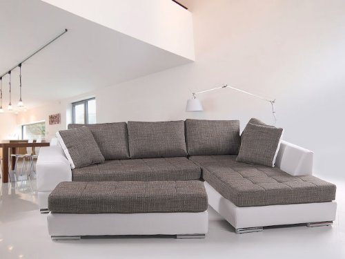 HUGO Sofa Kunstleder weiss Webstoff grau, Ottomane rechts
