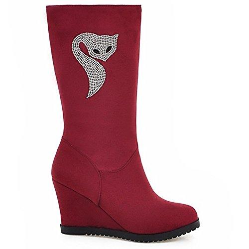 LongFengMa Women's Wedge Heel Mid-Calf Boots Red NoDKb
