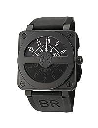 Bell & Ross Men's BR01-92COMPASS Aviation Rubber Strap Black Dial Watch