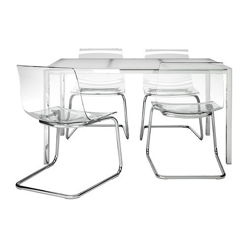 Sensational Amazon Com Ikea Table And 4 Chairs Glass White Clear Lamtechconsult Wood Chair Design Ideas Lamtechconsultcom