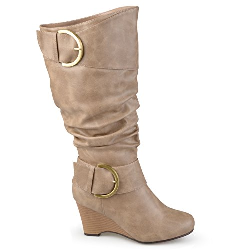 Brinley Co Donna Fibbia Alto Stivali In Ecopelle Taupe, 7.5 Vitello Extra Largo Noi