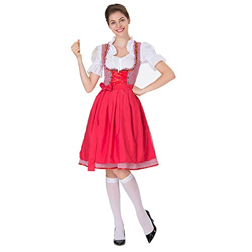 Togethor Dirndl Dress Authentic Bavarian with Belt Women's Oktoberfest Costume Beer Girl Maid Dress Red -