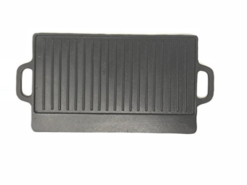 Aura Outdoor Products Rectangle Cast Iron Griddle - Perfect for Gas Grills and Stove Tops (Cast Iron Grill Pan For Outdoor Grill)