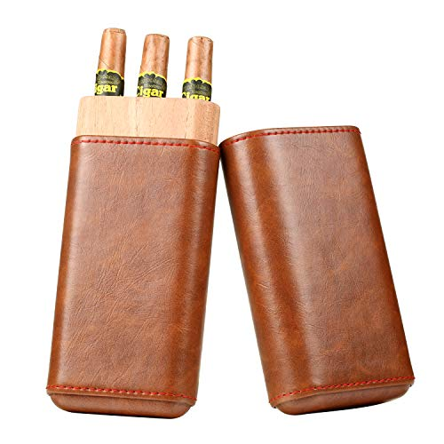 Cigar Case, Seasky Genuine Leather Cedar Wood Lined Cigar Humidor, Portable Travel Cigar Case for 3 Cigars (Brown)