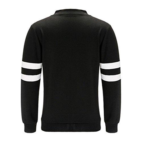 OverDose Las mujeres ocasionales de la manera de la cremallera chaqueta de la vendimia Outwear la capa de la chaqueta Negro