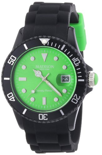 Madison New York U4486-10 - Wristwatch unisex, silicone, Color: Black