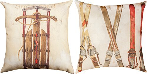 Skis and Snowsleds Indoor Outdoor Pillow 14 X 14 Inch 2 Sided -  - patio, outdoor-throw-pillows, outdoor-decor - 41dWcjW3GEL -