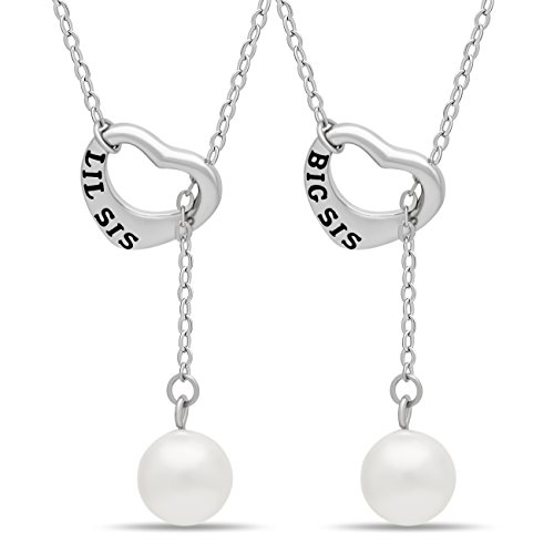 - 925 Sterling Silver Sister Lariat Heart Necklace Set for Big Sis Lil Sis - Engraved Silver Heart Necklaces for Two Sisters Simulated Shell Pearl Necklaces for Sisters
