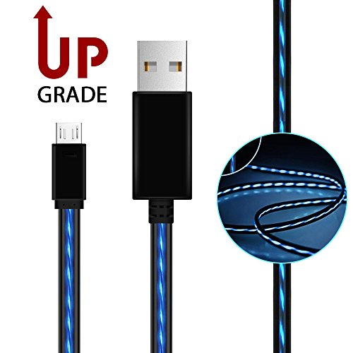 Micro USB Cable,AoliPlus Visible Flowing EL Light LED Charging Cords USB 2.0 A Male to Micro B Cable Sync Data for Android Devices, Samsung Galaxy, Sony, HTC, Motorola etc,3.0-Feet/0.9 Meter(Blue) (Sync Email Contacts)