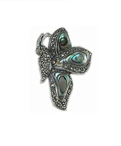 Sterling Silver Marcasite Paua Abalone Shell Side View Butterfly Brooch Pin