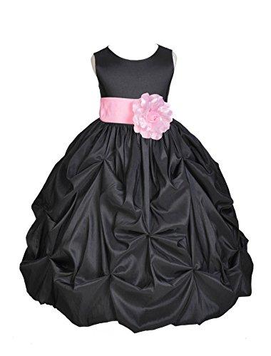 ekidsbridal Wedding Pageant Black Bubble Pick-up Toddler Taffeta Flower Girl Dress 301s 4