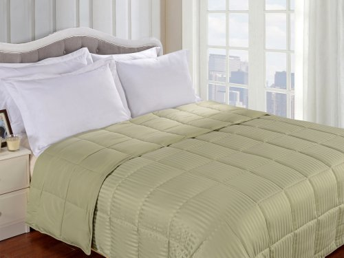 Superior Reversible Down Alternative Polyfill Blanket with Striped Microfiber Shell - Full/Queen, Sage