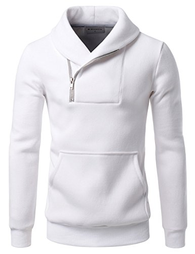 NEARKIN (NKNKTE7008) Mens the vanguard oblique zipper line city preppy look Sweatshirt WHITE US M(Tag size M)