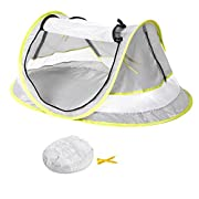 Baby Travel Tent,Portable Ultralight Folding Baby Beach Tent Pop Up UPF 50+ UV Travel Bed Cribs Protection Sun Shelter Shade for Baby Under Age 2 (Grey/Green)