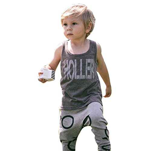 [Misaky 1Set Kids Toddler Boys Letter T-shirt+Trousers Pants Outfits (90CM(Age:2T), Gray)] (Womens Tuxedo Costumes Tshirt)